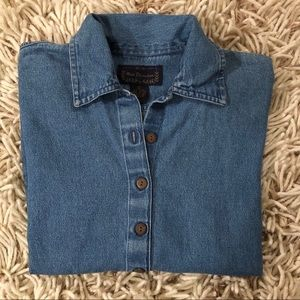 Vintage Denim Jean 1/2 Button Down Shirt - SZ SM